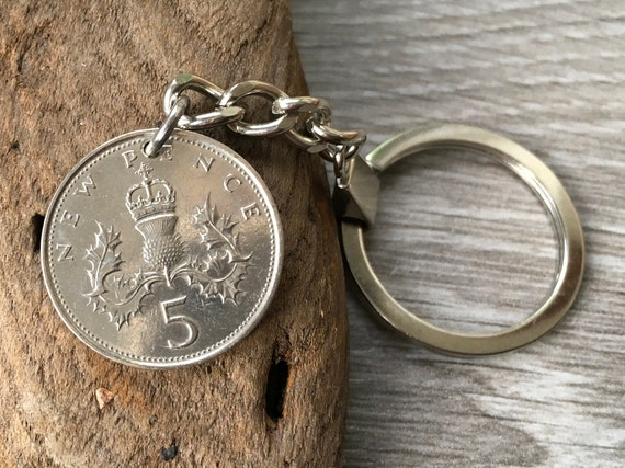 1988 or 1989 British coin keychain, choose coin year, Scottish thistle keyring or clip, 30th or 31st birthday gift or anniversary present