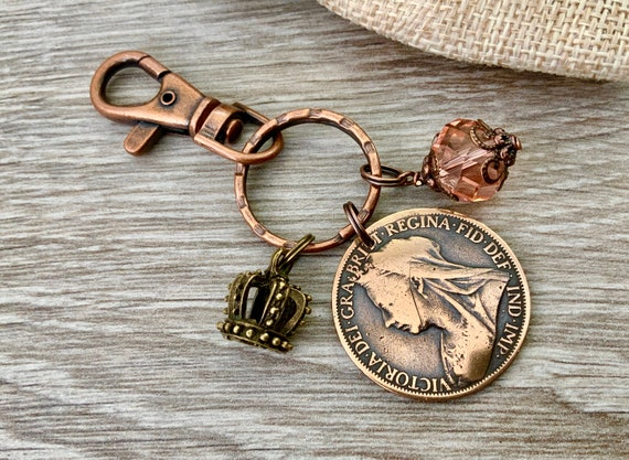 Victorian penny bag charm, keyring, British antique 1900 coin Keychain, Queen Victoria accessory gift for her, English present for a woman,