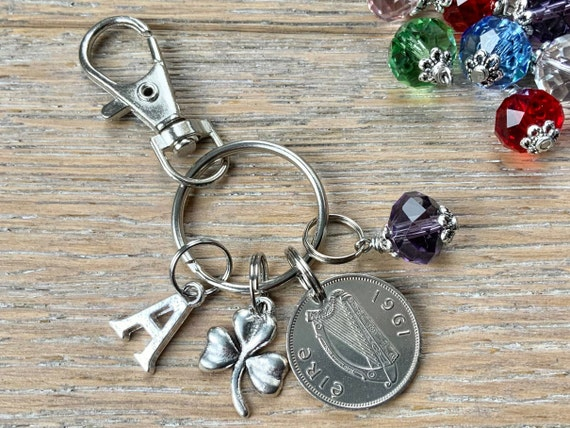 60th birthday gift 1961 Irish sixpence, shamrock and birthstone charm, keyring or bag clip, choose initial and birthstone
