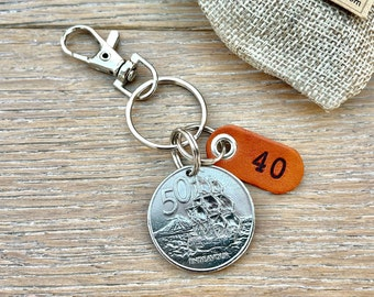 40th birthday gift, 1981 New Zealand coin keyring, Anniversary present, endeavour sailing ship, anniversary gift husband