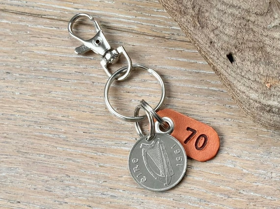 70th birthday gift, 1951 Irish shilling keychain, keyring or clip, a gift from Ireland for a man or woman