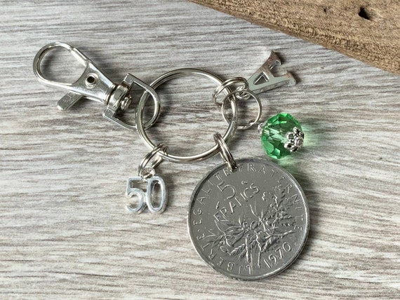 50th birthday gift, 1970 French 5 Franc coin bag charm clip, birthstone and initial, France anniversary present for woman
