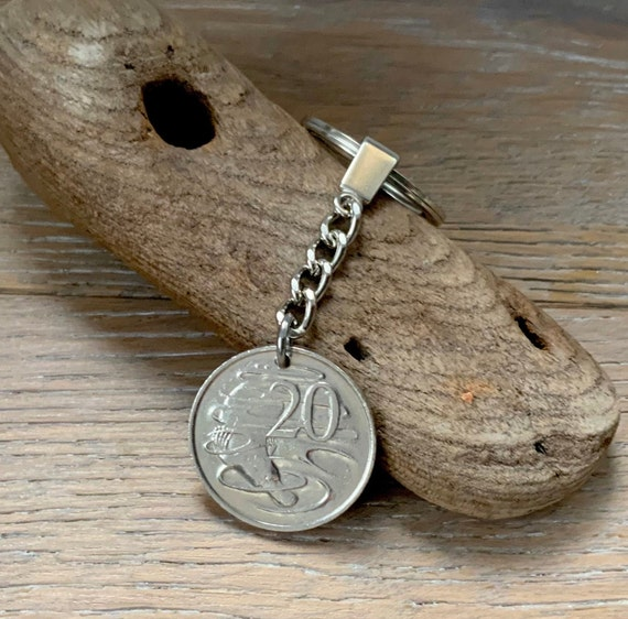 40th birthday gift, 1981 duck billed platypus Australian coin key ring