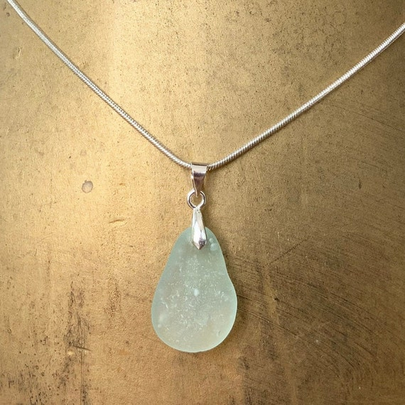 Natural sea glass pendant, Cornwall beach glass necklace, mermaids tears, birthday gift for a woman, wife, girlfriend