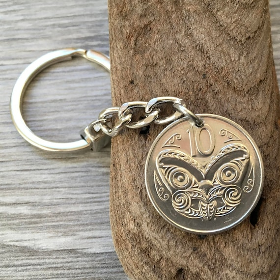 New Zealand coin Keychain, keyring or clip 1978, 1979, 1980 or 1985 choose NZ 10 cent coin year for a birthday gift or anniversary present