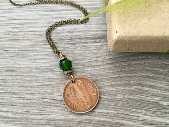 Irish coin necklace, 1971 vintage Ireland coin jewellery, 48th birthday gift, lucky good luck, anniversary present for her, woman wife mum