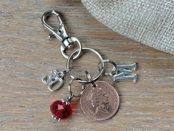 30th birthday Birthstone and lucky penny charm, 1991 British coin keyring or bag clip, choice of initial and colour, 30th anniversary gift