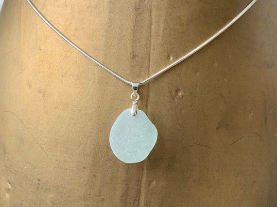 Simple natural sea glass pendant, handmade using Cornish sea glass or as some may say 'mermaids tears' on a silver plated chain