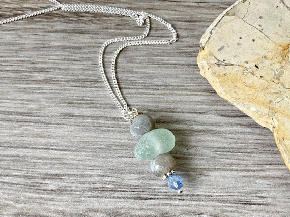 sea glass necklace, handmade with stormy labradorite pendant, blue crystal, Cornish Natural beach glass jewellery. sterling silver chain