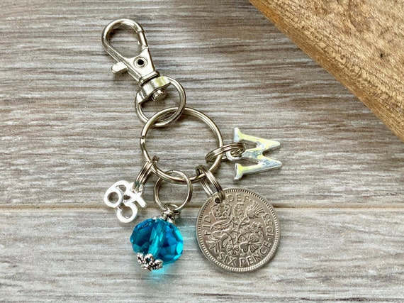 65th birthday gift, birthstone charm, 1954 sixpence keyring or bag clip, choose initial and birthstone colour