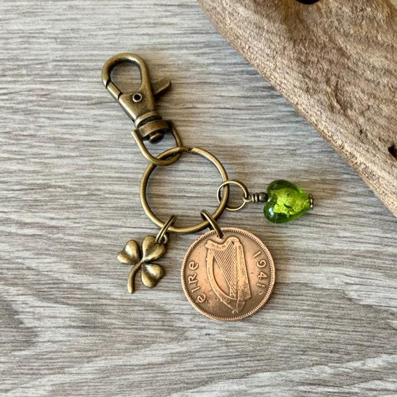 1941 Irish half penny charm clip or keyring, a perfect keepsake gift for 80th birthday, Ireland present woman