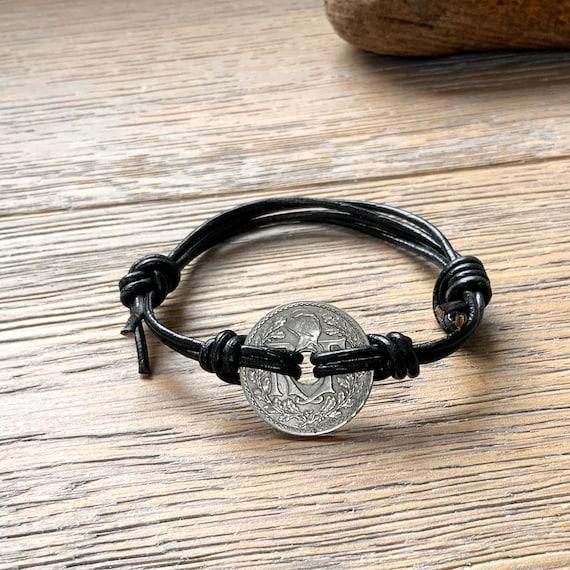 French coin bracelet, knotted adjustable leather bracelet,
