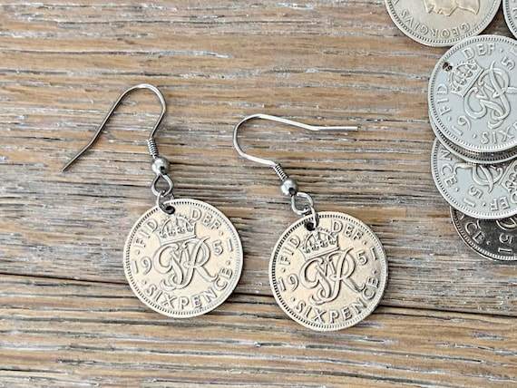 British sixpence earrings 1947 - 1951 choose coin year, stainless steel or sterling silver ear wires
