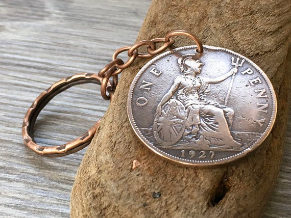 92nd Birthday Gift 1927 English Big Penny Keyring Keychain 91 Years Old