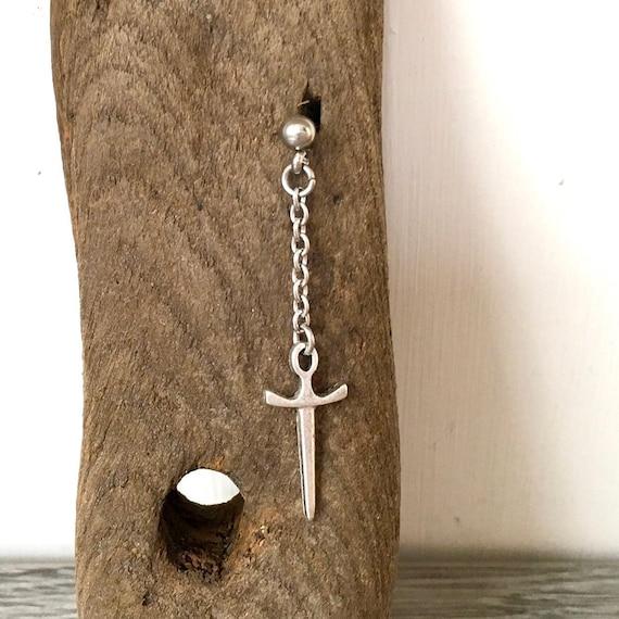 Single long dagger stud earring, dangle sword earrings, also available as a pair of earrings