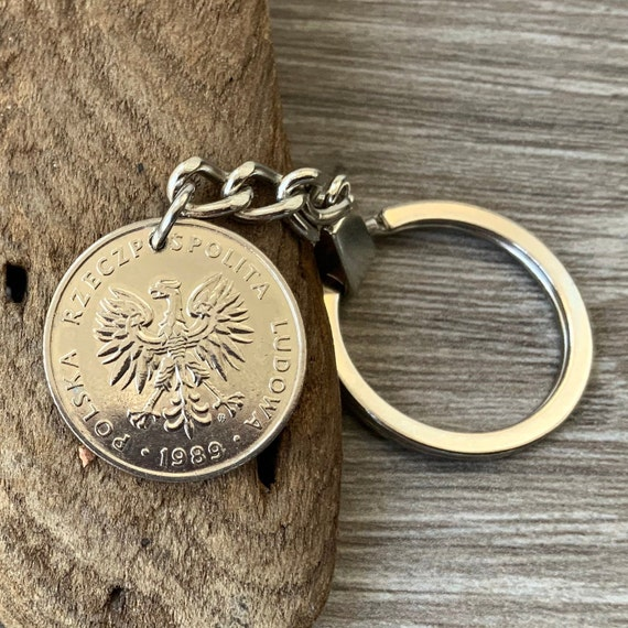 30th birthday gift 1989 polish coin keyring 20 zlotych keychain poland 30th Anniversary present man, woman, brother, husband
