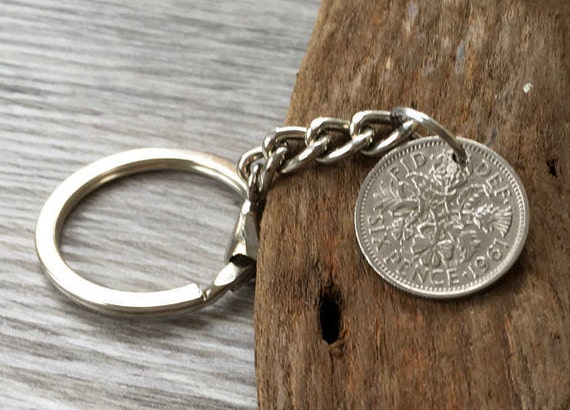 1961 sixpence keychain, keyring, key fob, clip, bag charm, 59th birthday Anniversary gift for a man or woman lucky four leaf clover charm,