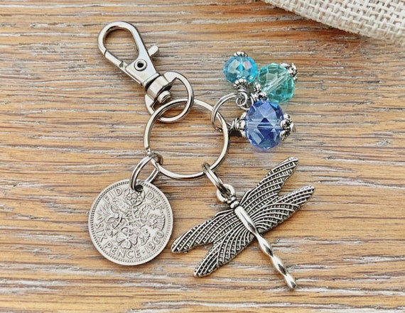 Lucky sixpence and dragonfly charm, choose coin year from the drop down menu for a perfect birthday, anniversary gift or Mother's Day gift