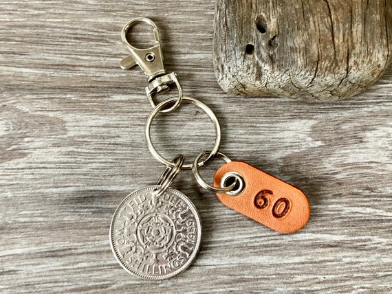 60th birthday gift 1959 British florin keychain, Keyring or clip, UK two shilling coin with a leather number 60 tag