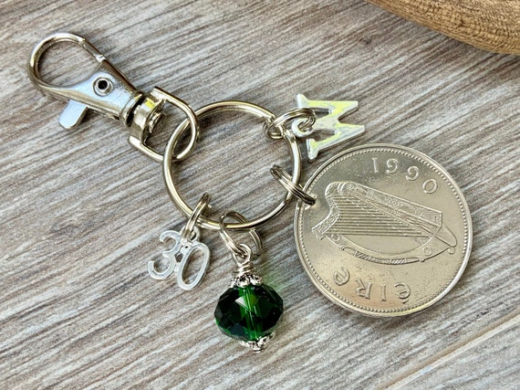 30th birthday gift, Irish punt Birthstone charm, 1990 Ireland coin bag clip, choice of initial and birthstone colour, 30th anniversary gift