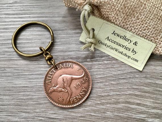 1944 or 1945 Australian penny keychain, kangaroo keyring or clip, 73rd or 74th birthday or anniversary gift Aussie, Australia