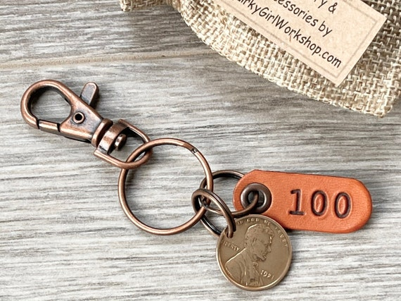 100th birthday gift, 1921 USA penny keychain, One cent keychain, American 100 years old, United States present for grandad, great grandad