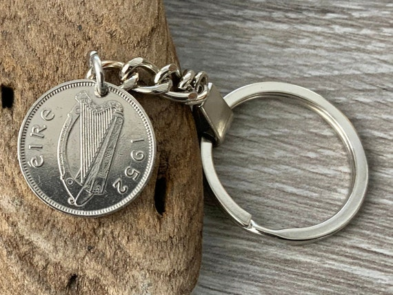 1950 or 1952 Irish sixpence keychain, Ireland Wolfhound coin keyring, a perfect 69th or 71st birthday keepsake gift