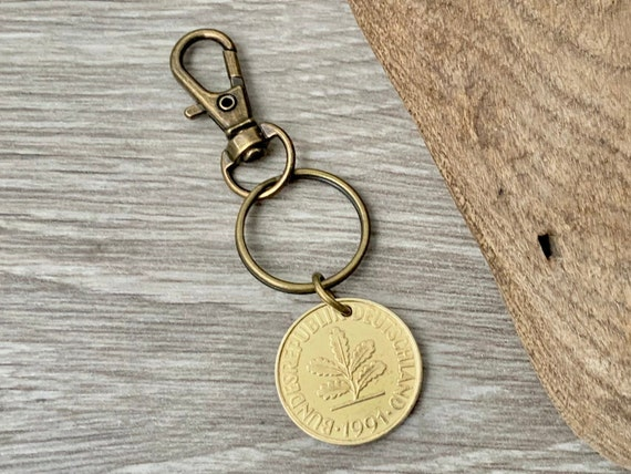 1991 German 10 pfennig coin clip, 30th birthday or anniversary gift
