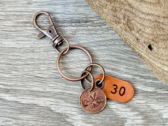 30th birthday gift, 1991 Canadian penny keychain, Canada one cent keyring maple leaf lucky penny clip, anniversary present