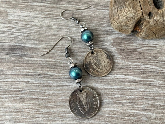 Irish coin earrings, 25th birthday, Eire Anniversary gift, 1994 repurposed coin Ireland, antique style keepsake present for her, woman,