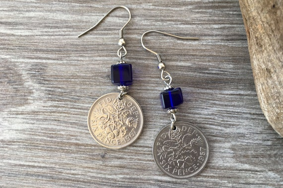 65th or 66th birthday gift for a woman 1953 or 1954 British lucky sixpence earrings, English coin jewellery, retirement present, Cobalt blue