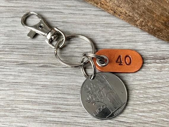 Italian coin keyring, 40th, birthday gift, 1980 Italy keychain, 100 Lire key fob, anniversary  present