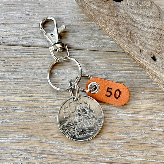 50th birthday gift, 1971 New Zealand 50 cent coin keyring, Anniversary present, endeavour sailing ship