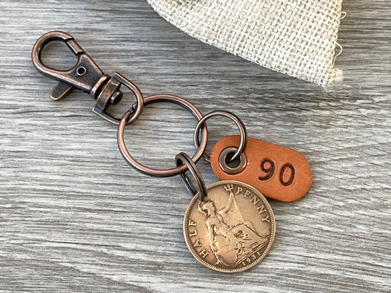 90th birthday gift, 1931 British half penny keychain clip, UK coin keyring, English present for a man or woman