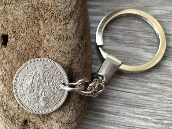 1953 sixpence keychain, keyring or clip, a perfect good luck present or 66th birthday or anniversary gift