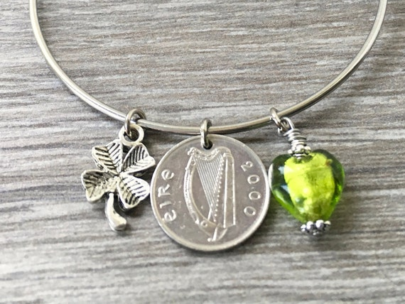Irish coin bangle bracelet, 1992, 1993, 1994, 1996, 1998 or 2000 choose coin year, Ireland charm bracelet