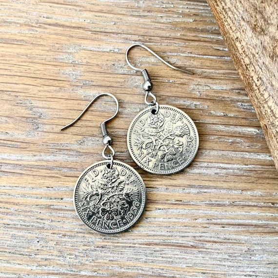 British sixpence earrings, pretty English coin Jewellery, choose between Sterling silver or stainless steel ear wires