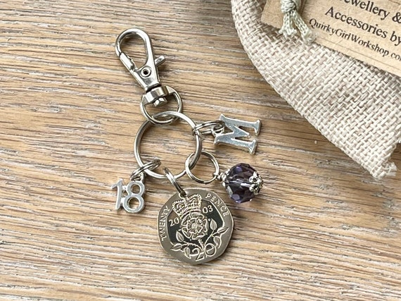 18th birthday gift, 2003 British 20 pence coin bag charm clip, birthstone and initial present, UK anniversary,  for woman