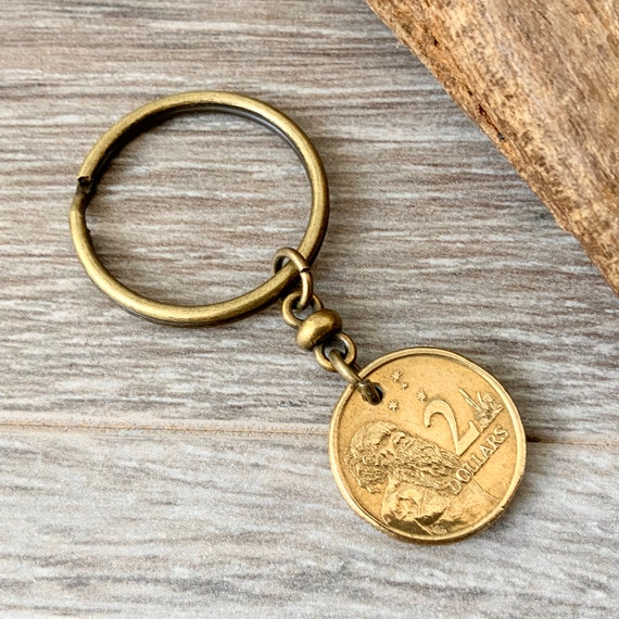30th Australian Birthday, Anniversary gift, Aussie 1989 or 1990 2 dollar coin keyring, Australia keychain, present for a man or woman