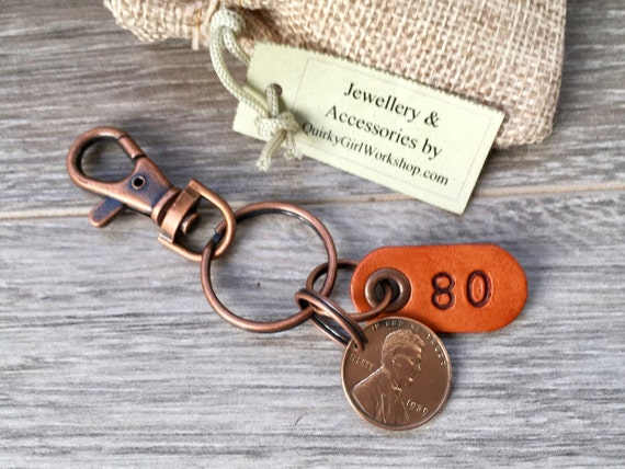 80th birthday gift, 1939 USA coin keychain, American one cent keyring, lucky penny clip