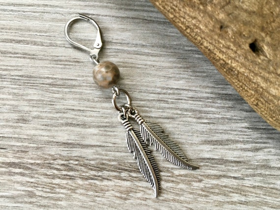 Feather earring, guys ocean jasper earring, feather jewellery, grungy man accessory, grunge rocker style,
