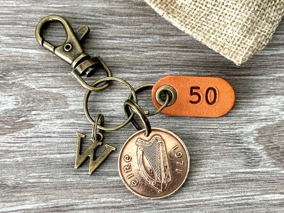 Personalised Irish 50th birthday gift, 1971 Irish Two pence coin keychain, keyring or clip, choose initial