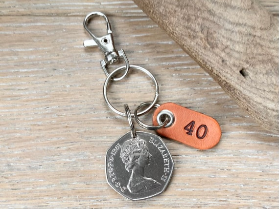 40th birthday or anniversary gift, 1981 British fifty pence coin Keyring or clip, with a handmade leather number 40 tag