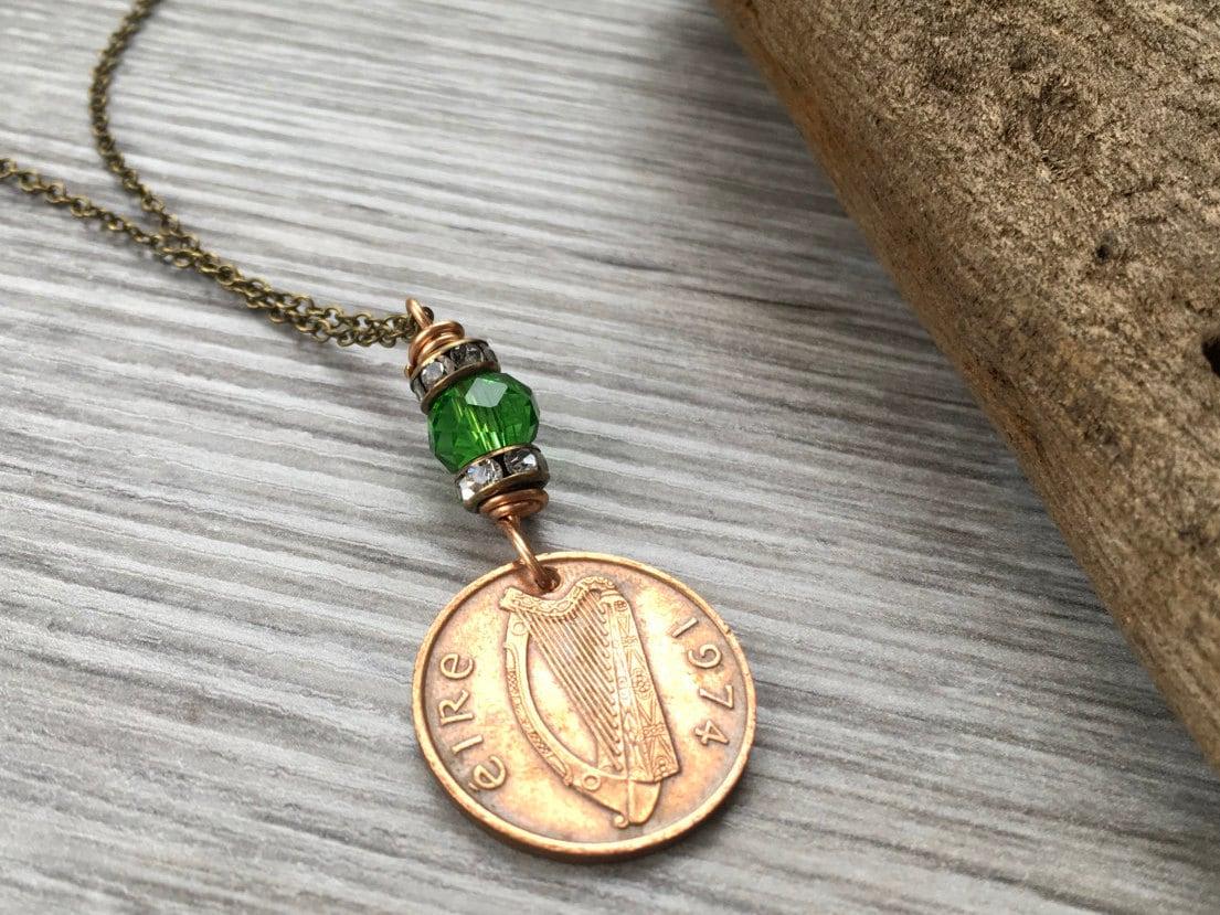 44th Birthday Gift 1974 Irish Coin Pendant Green Ireland Necklace