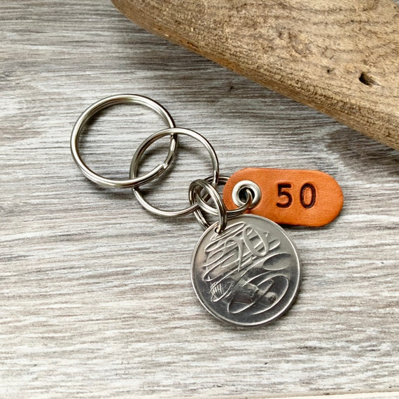 50th birthday gift or anniversary present for a man or woman, 1970 Australian 20 cent coin keyring, keychain or clip,
