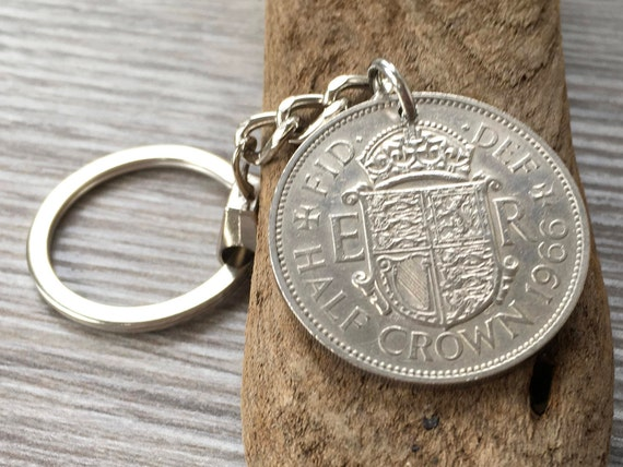 British Half Crown coin keyring available in years 1965, 1966 or 1967 a perfect 54th, 55th or 56th birthday, retirement or anniversary gift