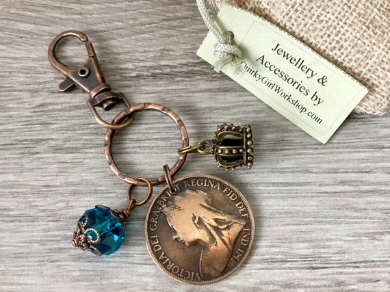 Victorian penny bag charm, keyring, British antique 1895 coin Keychain, Queen Victoria accessory gift for her, English present for a woman,