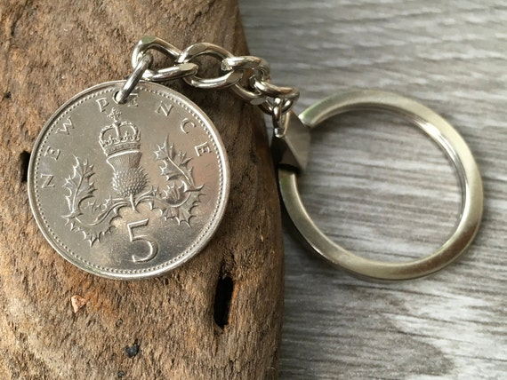 British five pence coin keychain, Scottish thistle keyring, Choose coin year foe a perfect birthday or anniversary gift