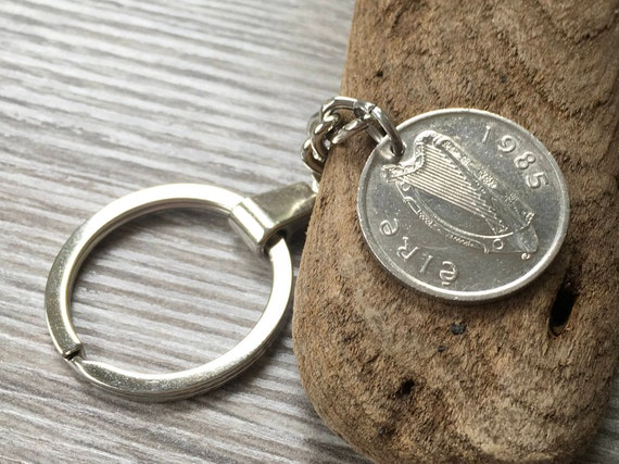 1985 or 1986  Irish coin keychain, choose coin year, lucky birth year coin, 33rd 34th birthday gift, anniversary present for a man or woman