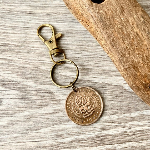 New Zealand 1949 half penny keyring, tui bird coin keychain, 70th birthday or anniversary gift for a man or woman